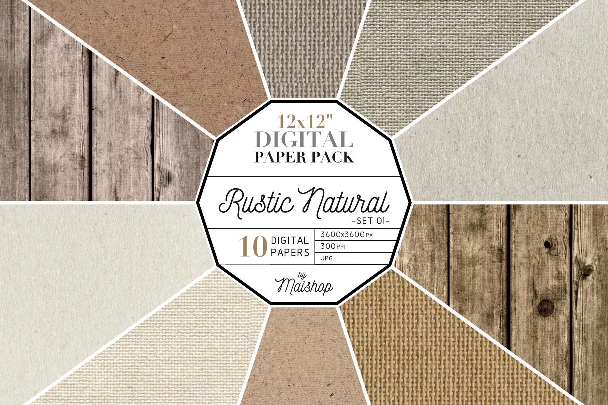 """Digital Paper Pack """"Rustic Natural"""" Set 01 example image 1"""