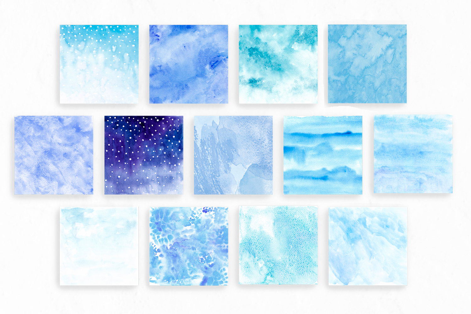 Blue watercolor backgrounds Winter digital paper example image 2