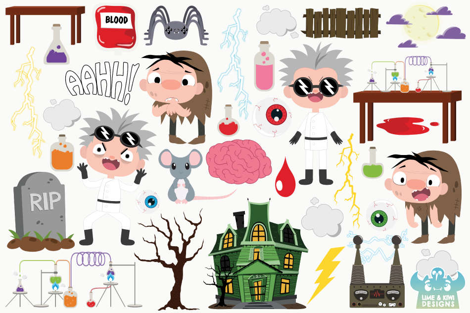 Mad Scientist Lab Clipart, Instant Download Vector Art example image 2