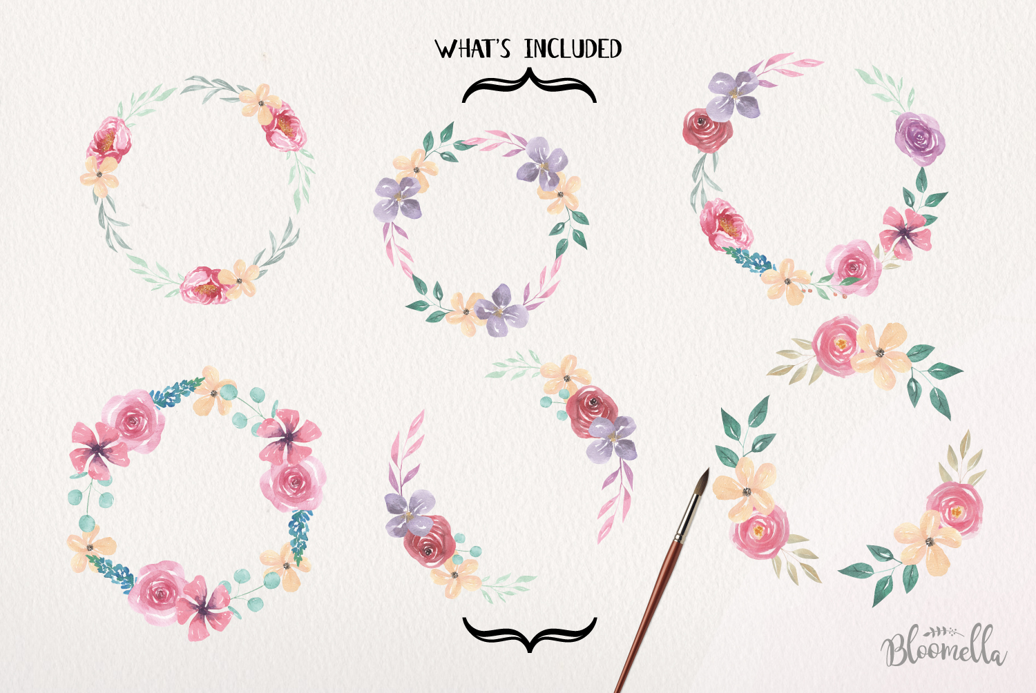 Floral 6 Wreath Watercolor Pink Floral Roses Garlands Flower example image 3