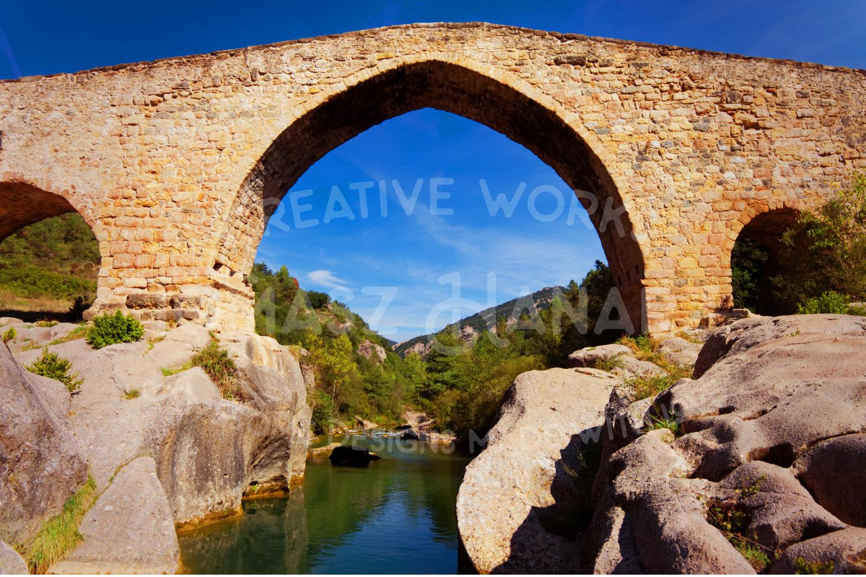 Gothic Stone Bridge Over The River Llobregat example image 1