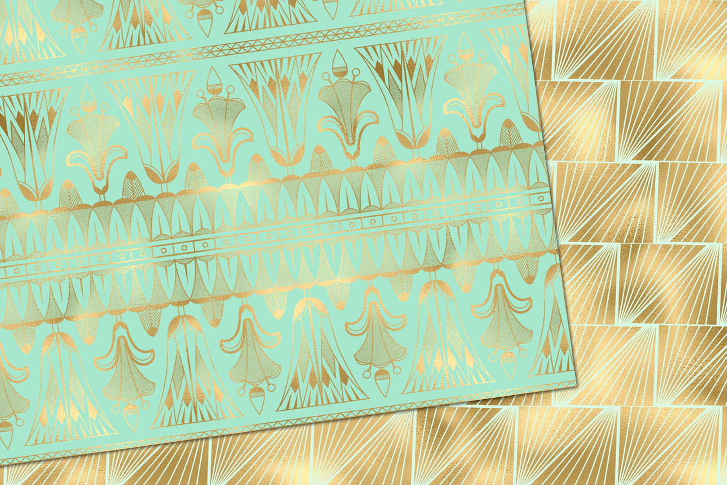 Mint and Gold Art Deco Digital Paper example image 4