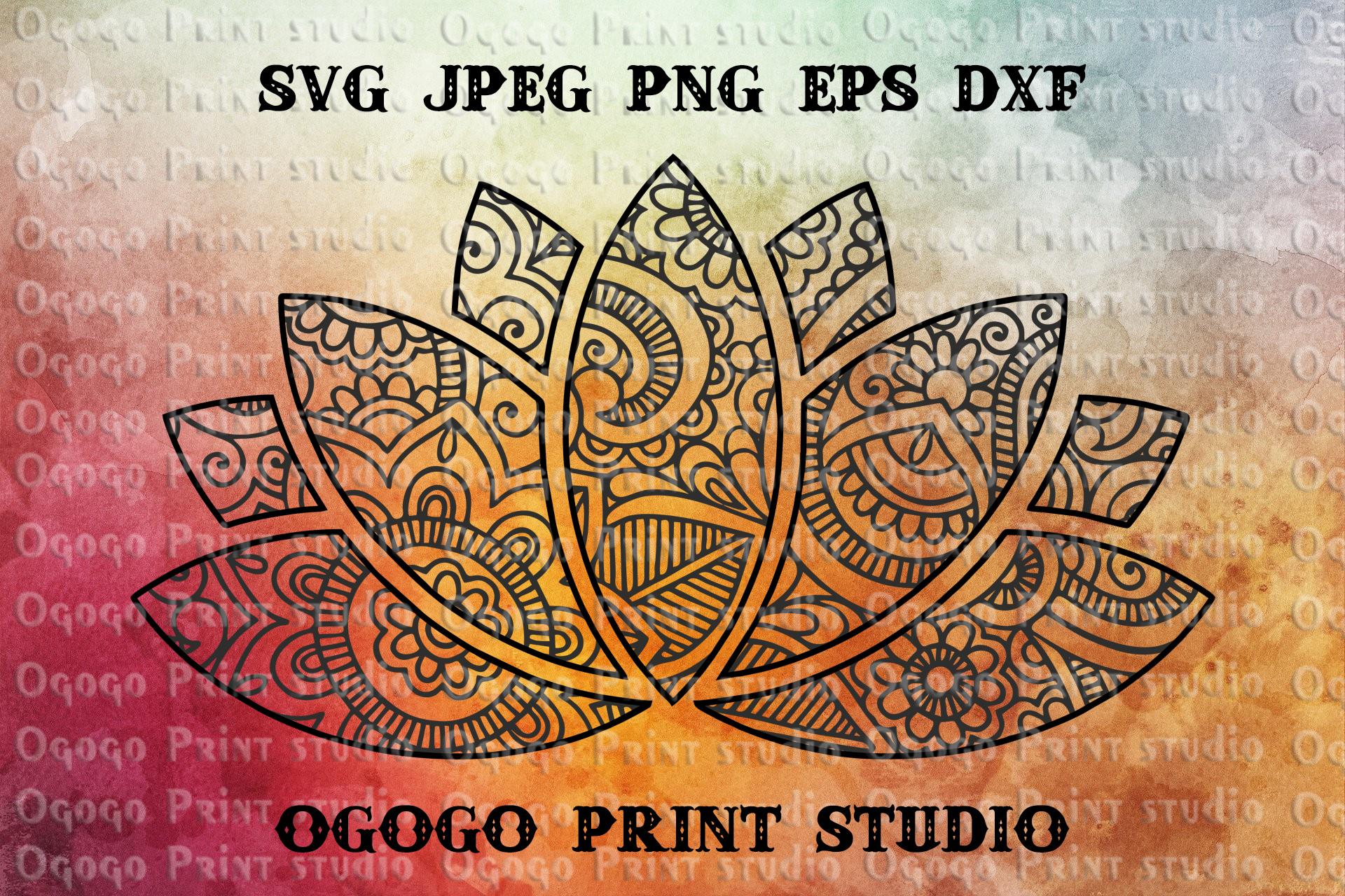 Lotus SVG, Zentangle SVG, Flower svg, Mandala svg, Cricut example image 1
