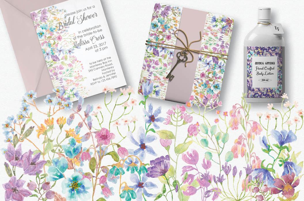 'Field flowers': border plus wreath example image 3