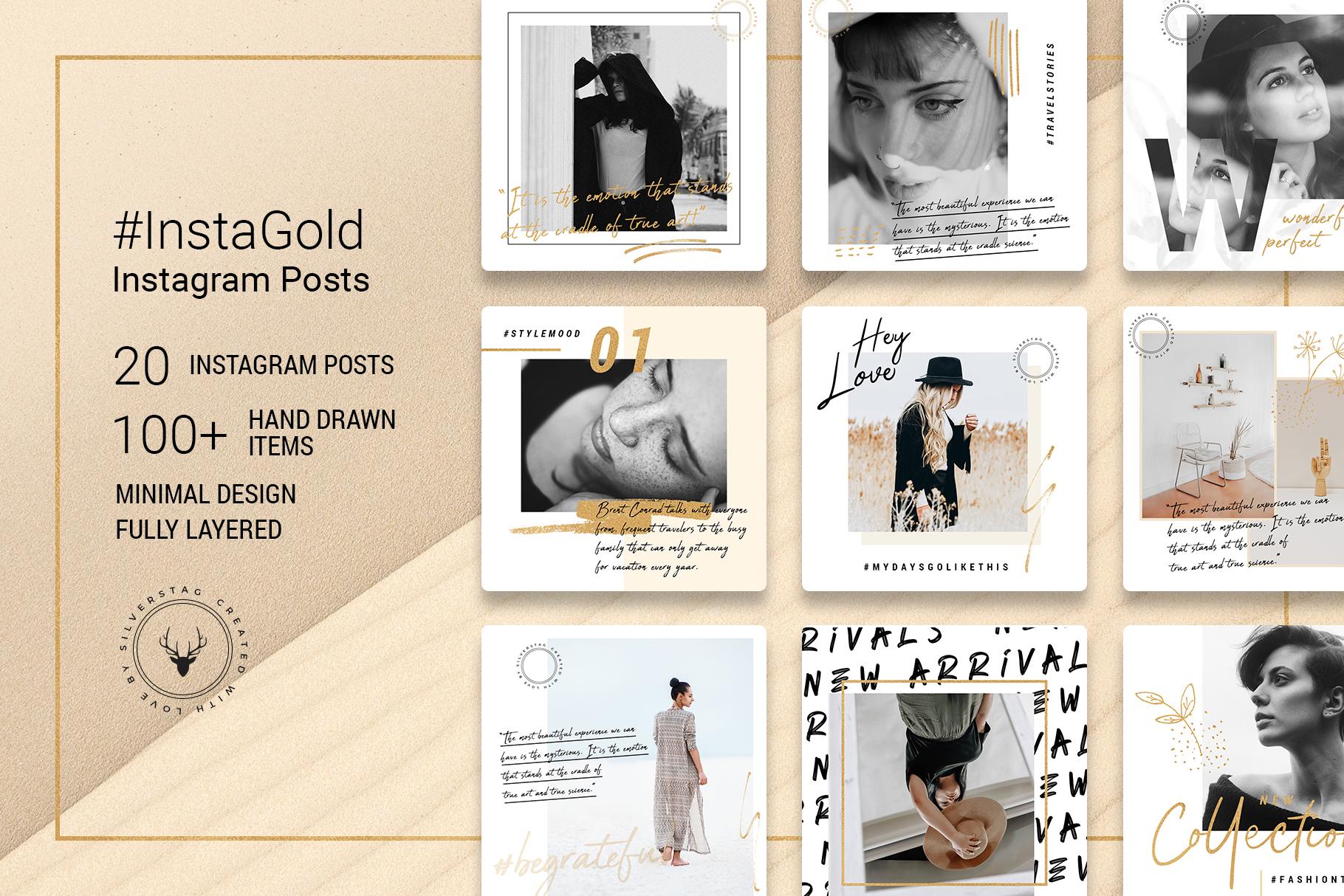 #InstaGold - Minimal, Elegant Instagram Post Templates ...