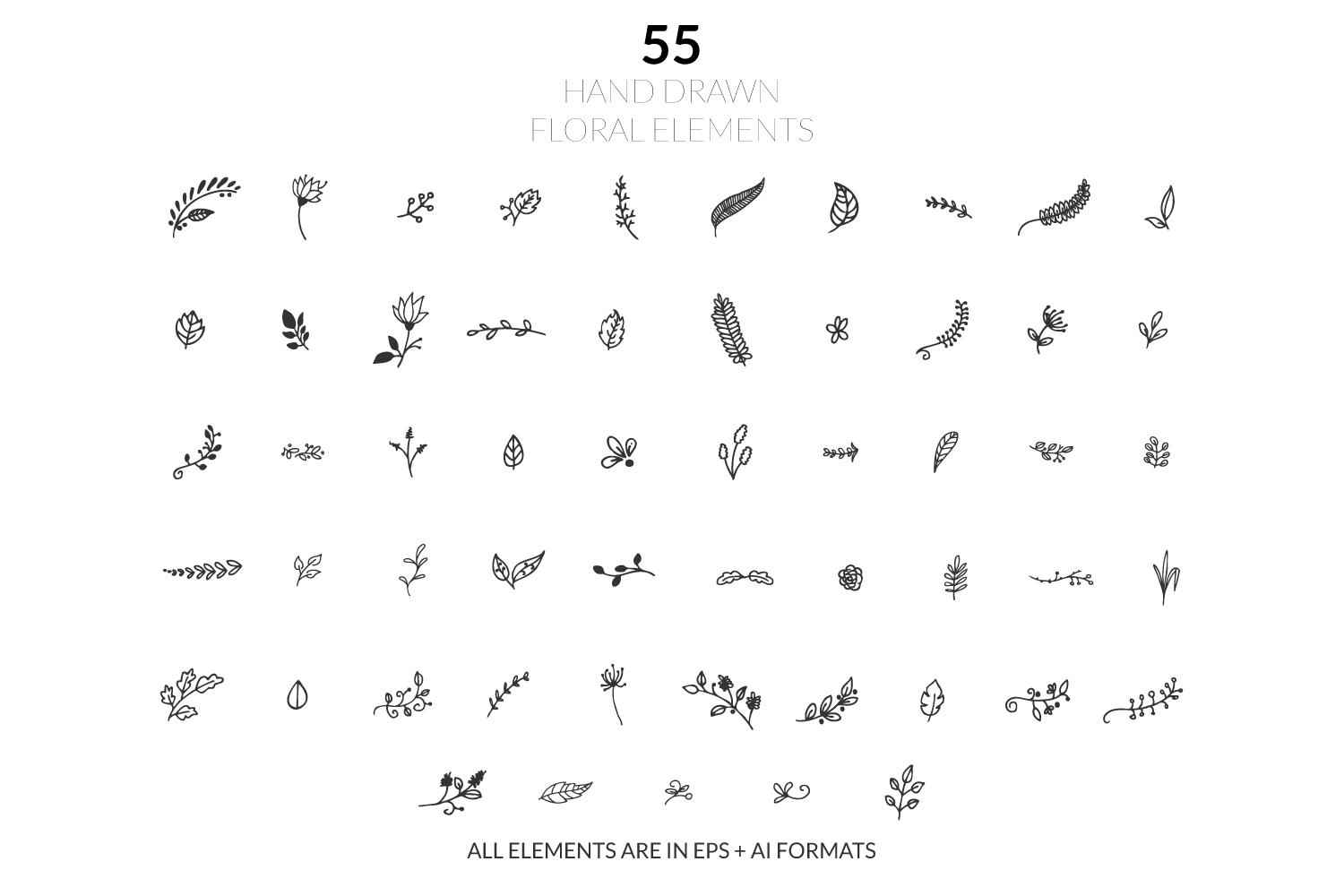 Hand Drawn Floral Illustrations Vol. 1 example image 1