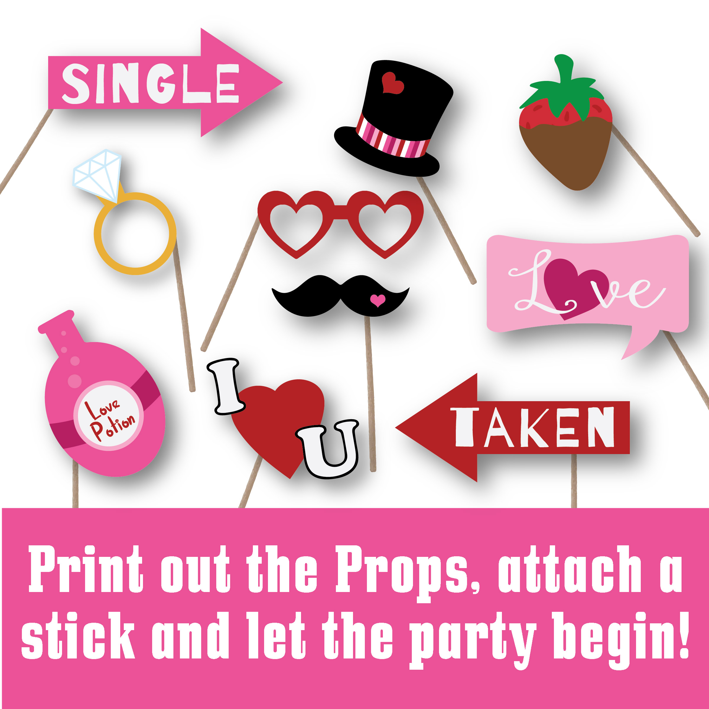 Valentines Day Photo Booth Props - SVG Cut File - DXF - EPS example image 3