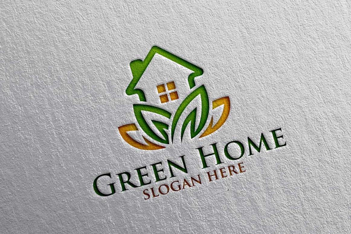 Real estate Logo, Green Home Logo 18 example image 1