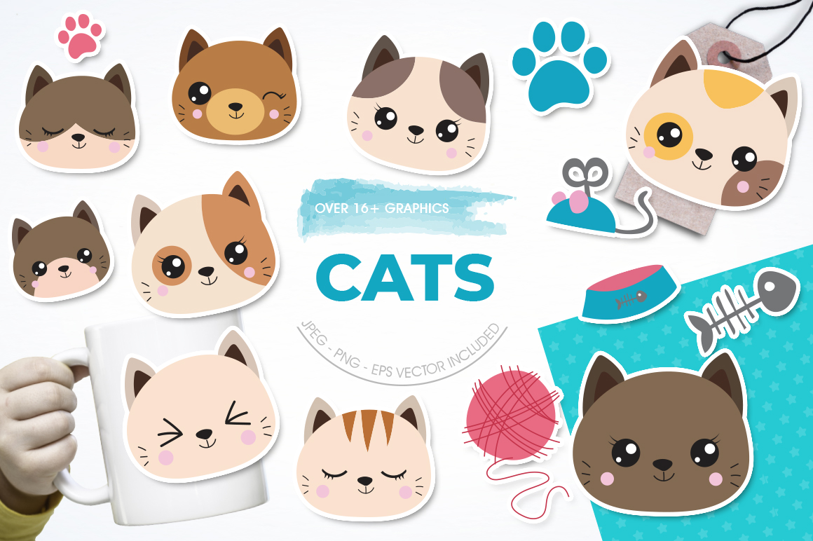 Cats graphic and illustrations example image 1