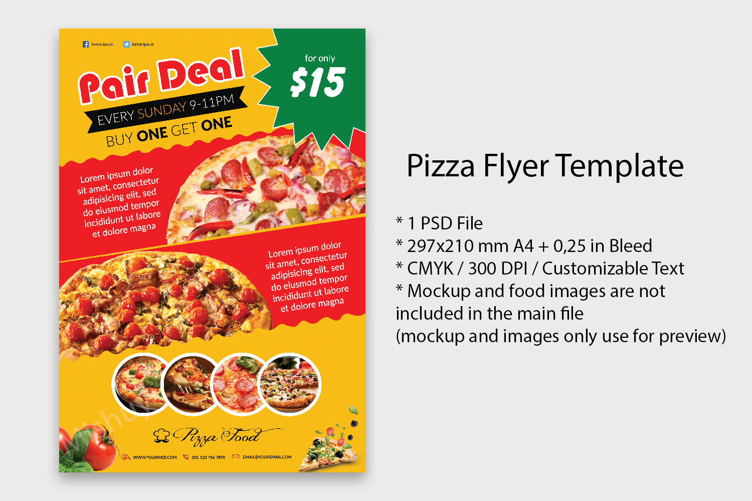 Pizza flyer template example image 1