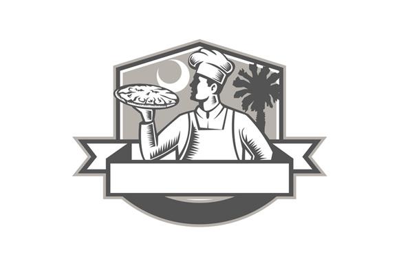 Pizza Chef Pizza Moon Palmetto Tree Shield Retro example image 1