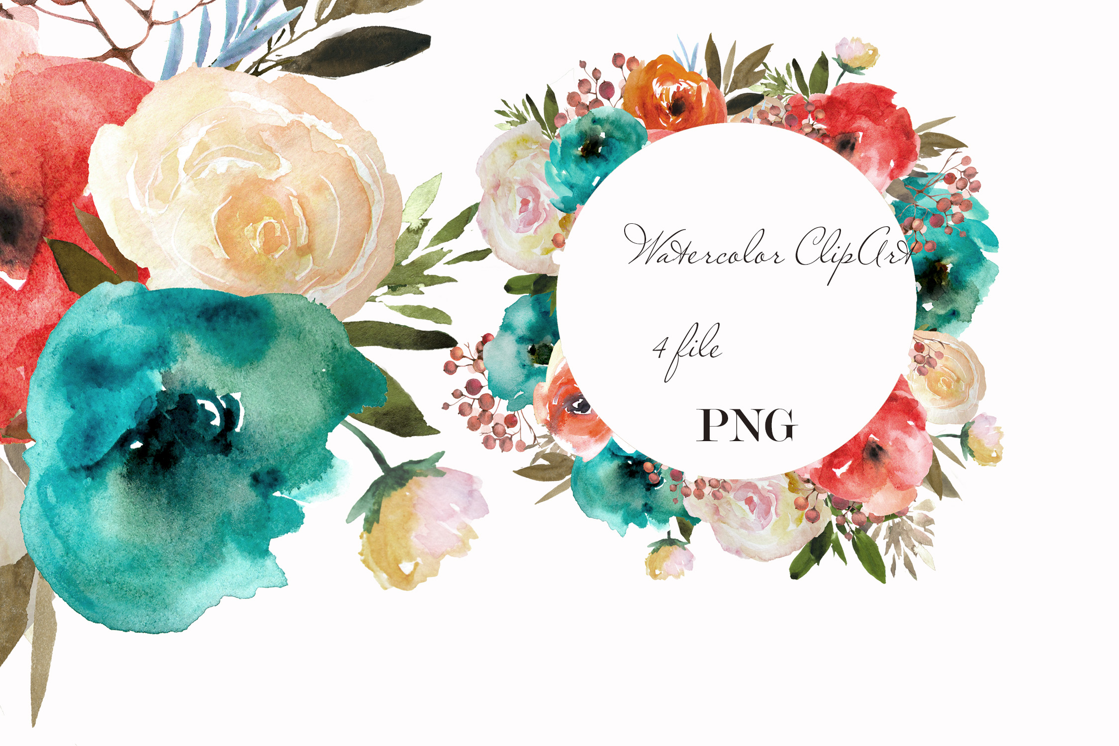 Blue red flowers clipart Watercolor wreath example image 1