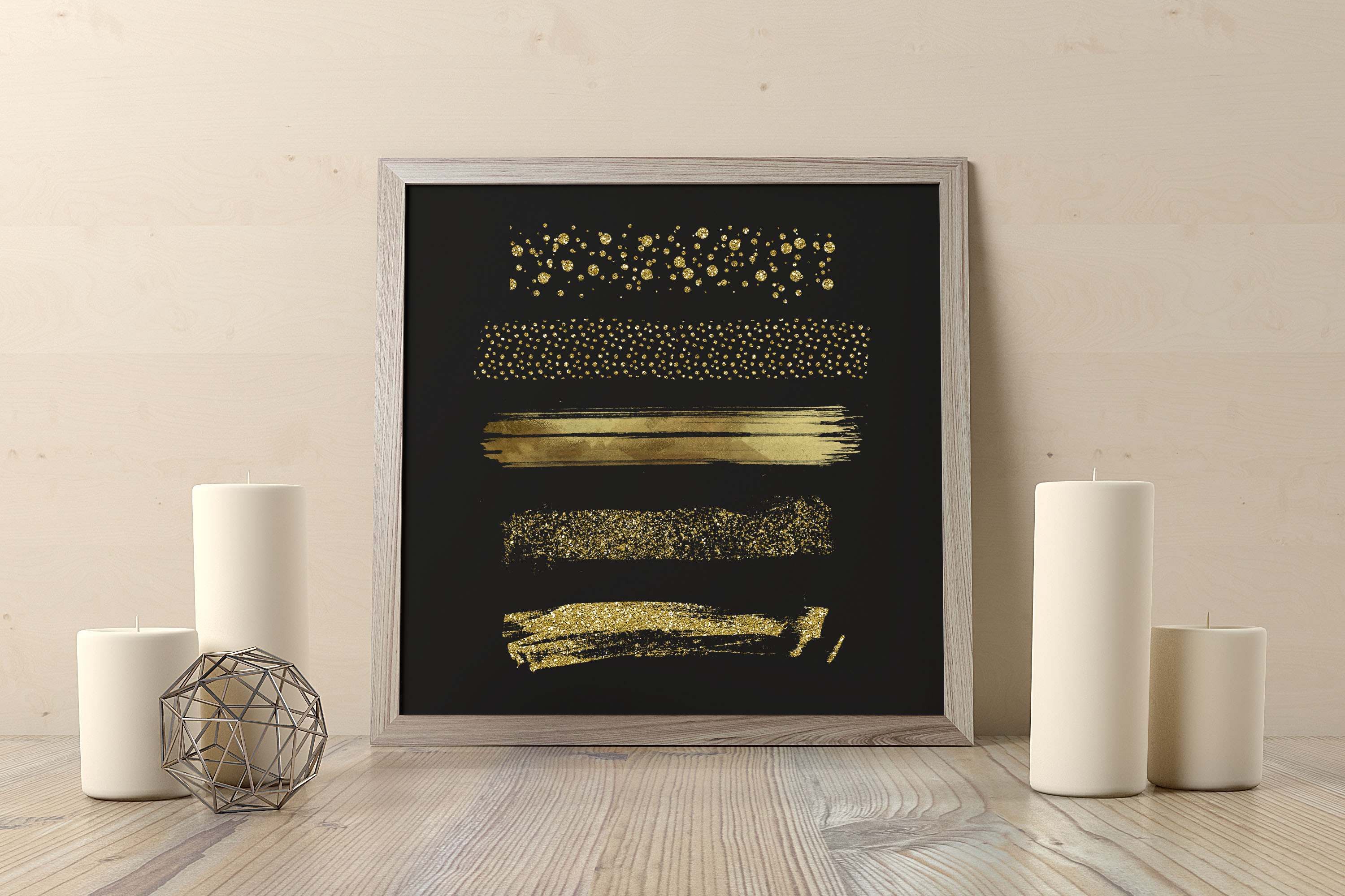 33 Gold Glitter and Black Hand Drawn Brush Strokes Images example image 4