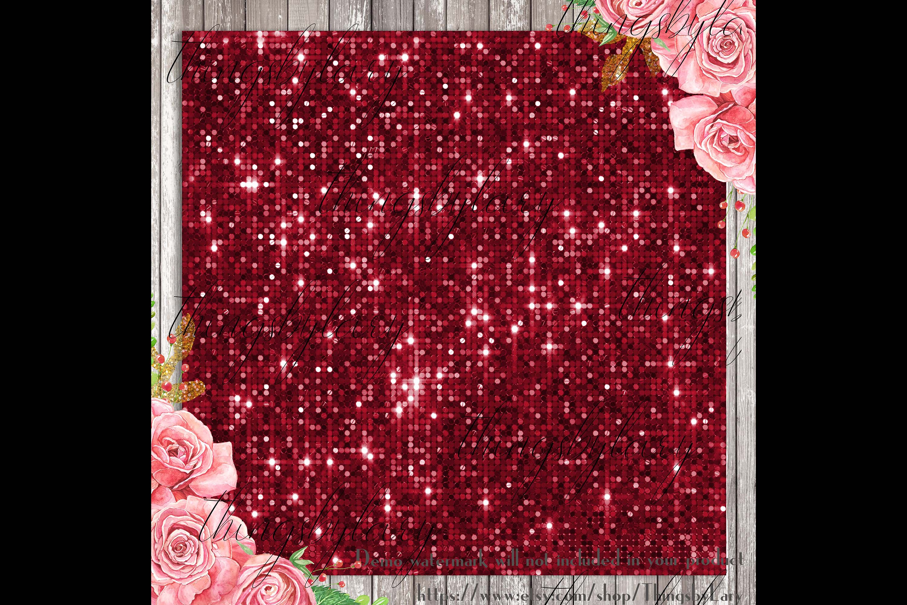 100 Seamless Glowing Bling Bling Disco Sequin Digital Papers example image 3