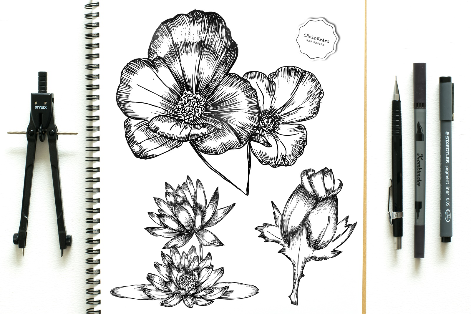 Modern Flowers Clipart example image 4
