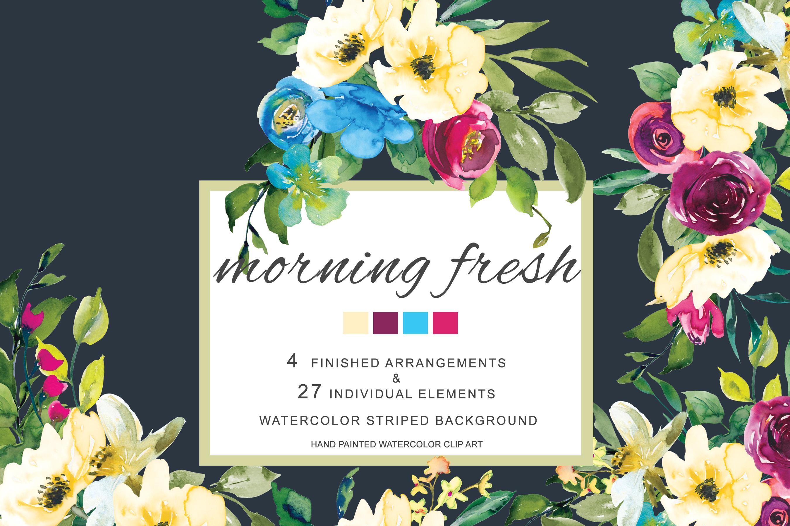 Watercolor Lemon Red And Blue Flowers C Design Bundles