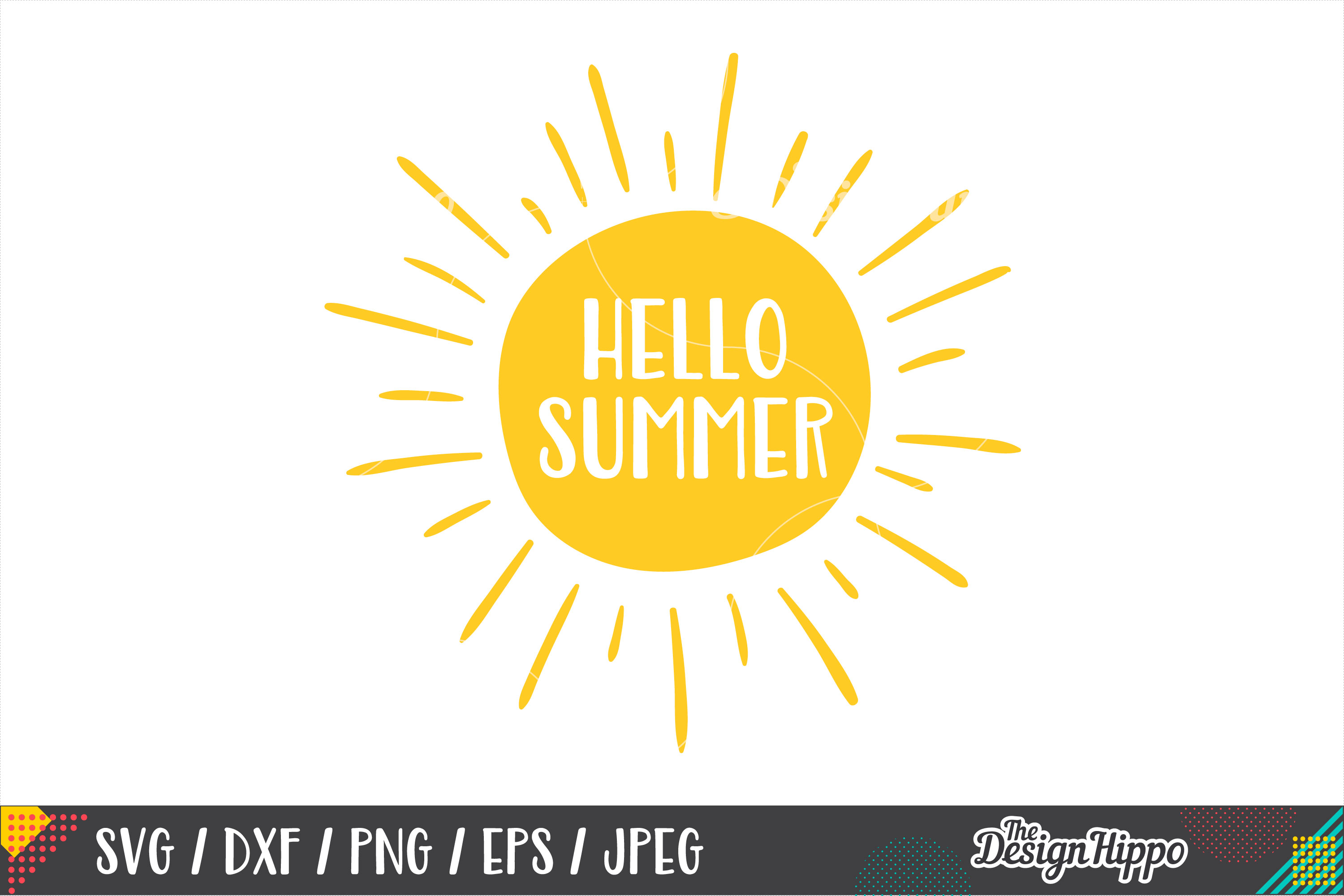 Hello Summer SVG, Beach, Funny, SVG PNG DXF Cricut Cut Files example image 1