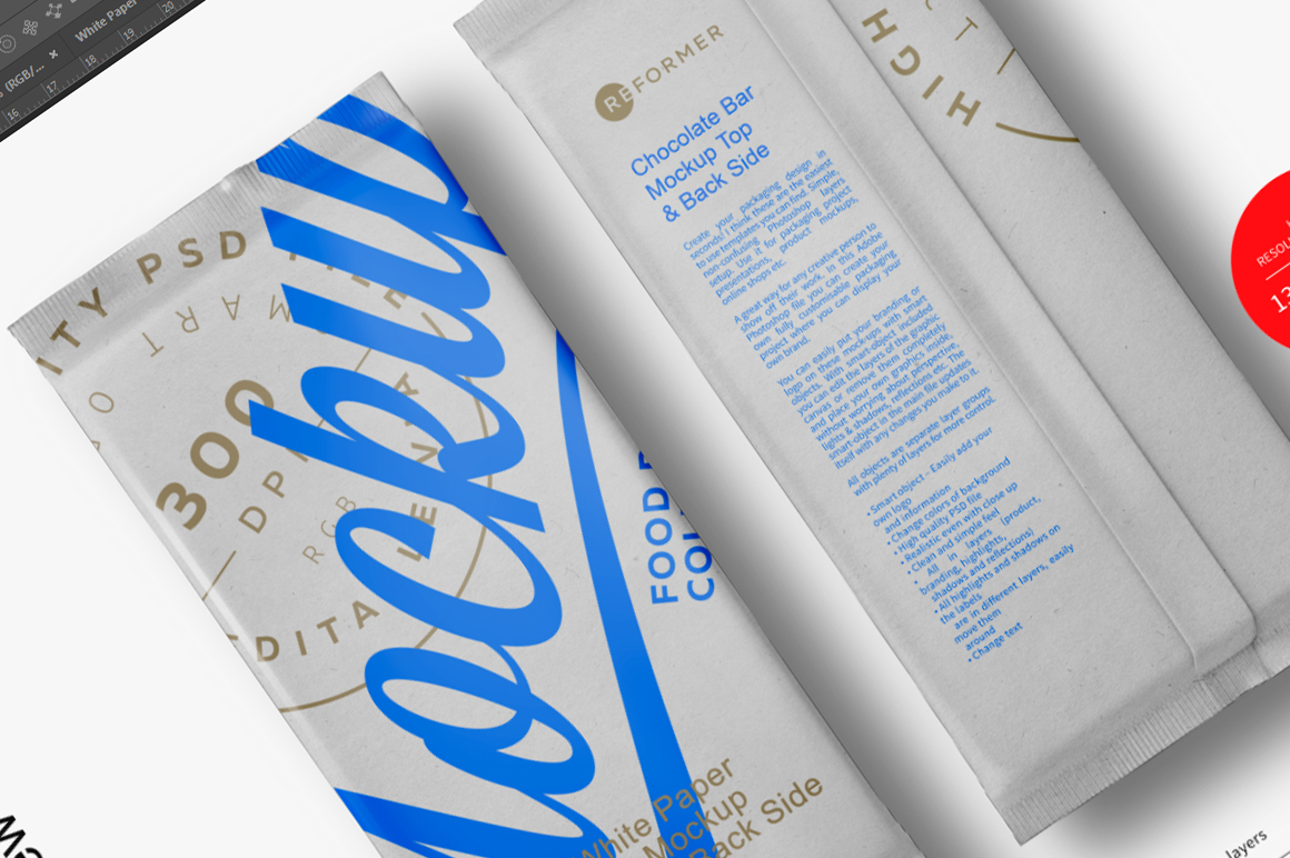 White Paper Bar Mockup Top & Back Side View example image 6