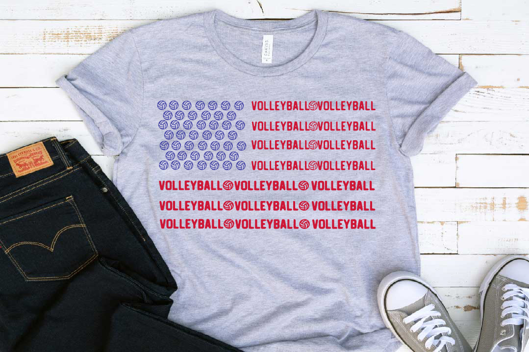 Volleyball American Flag 4th of July Red White Blue 1412s example image 1