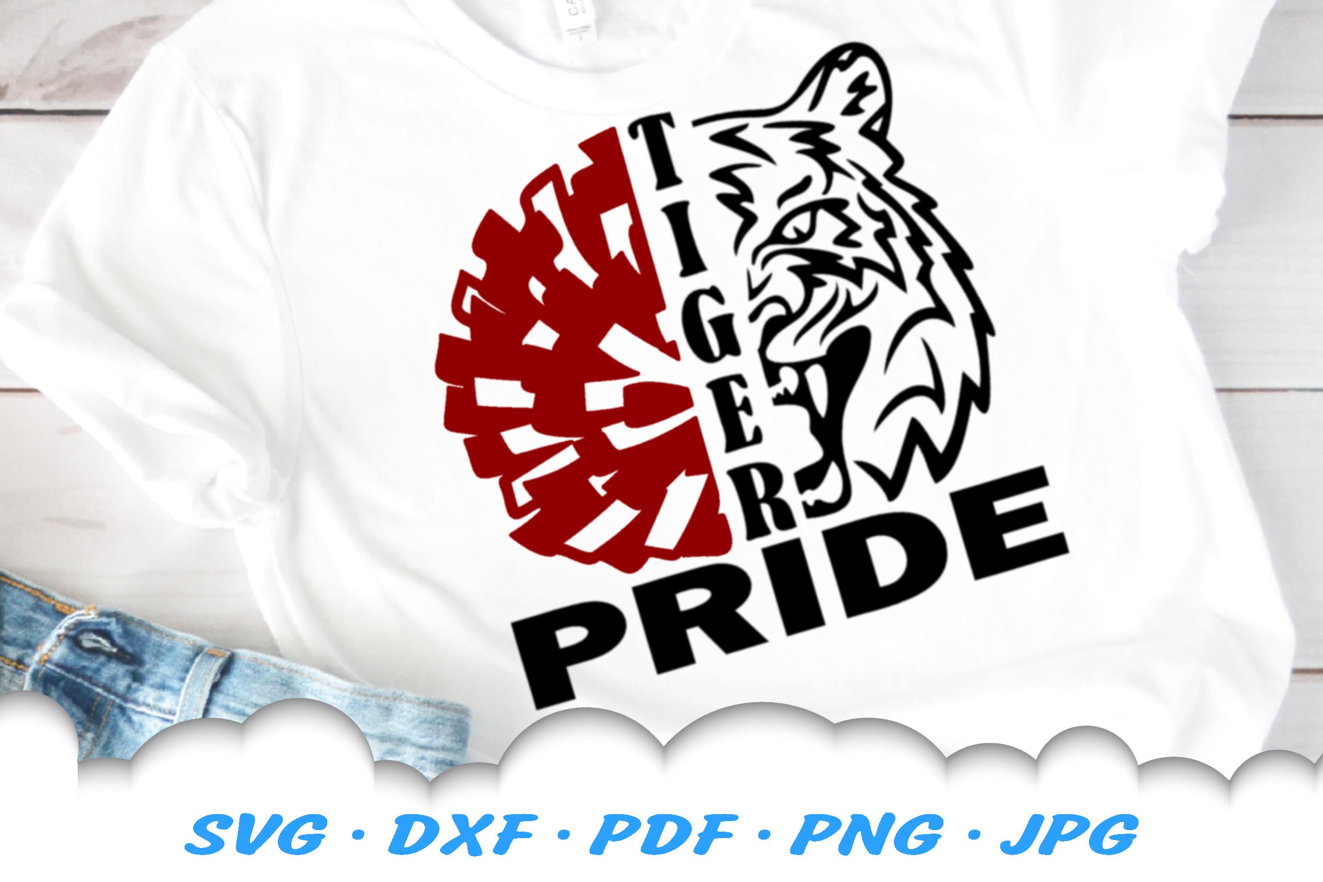 Tiger Pride Mascot Cheer Pom SVG DXF Cut Files Bundle example image 2