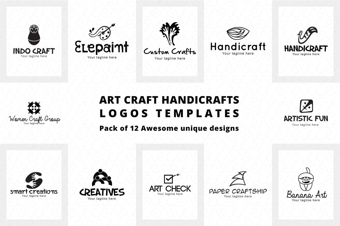 Art Craft Handicrafts Logo Templates Pack of 12 example image 6