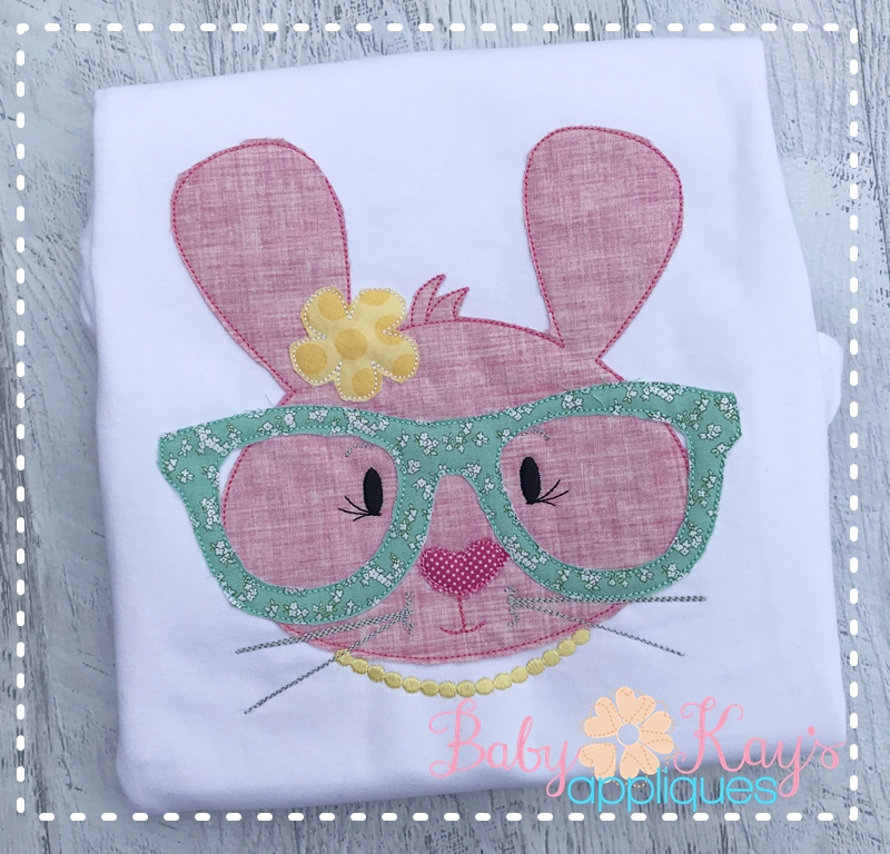 Bunny With Glasses Girl 4x4, 5x7, 6x10, 8x8 example image 1