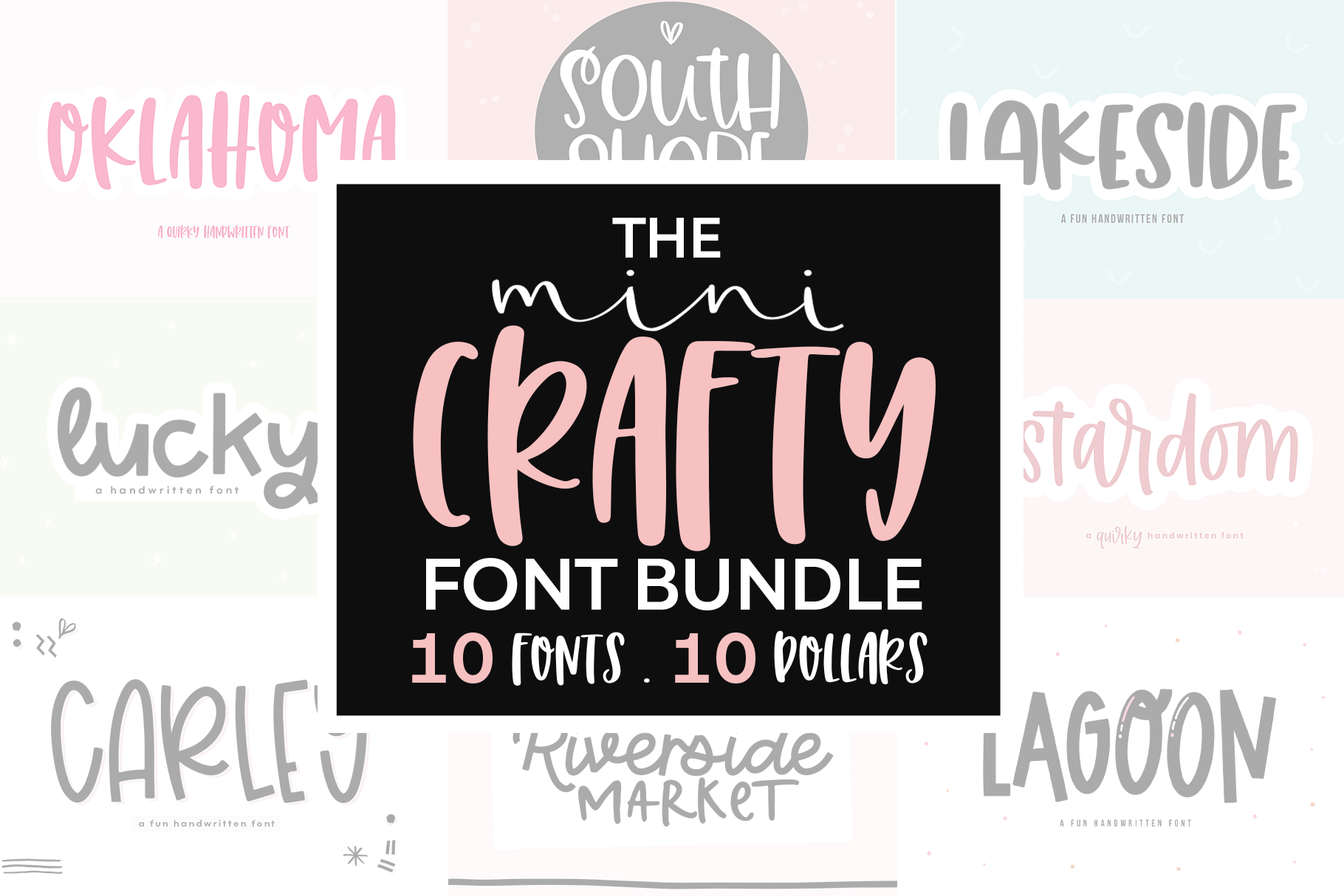 The Mini Crafty Bundle - 10 Fun & Quirky Fonts example image 1