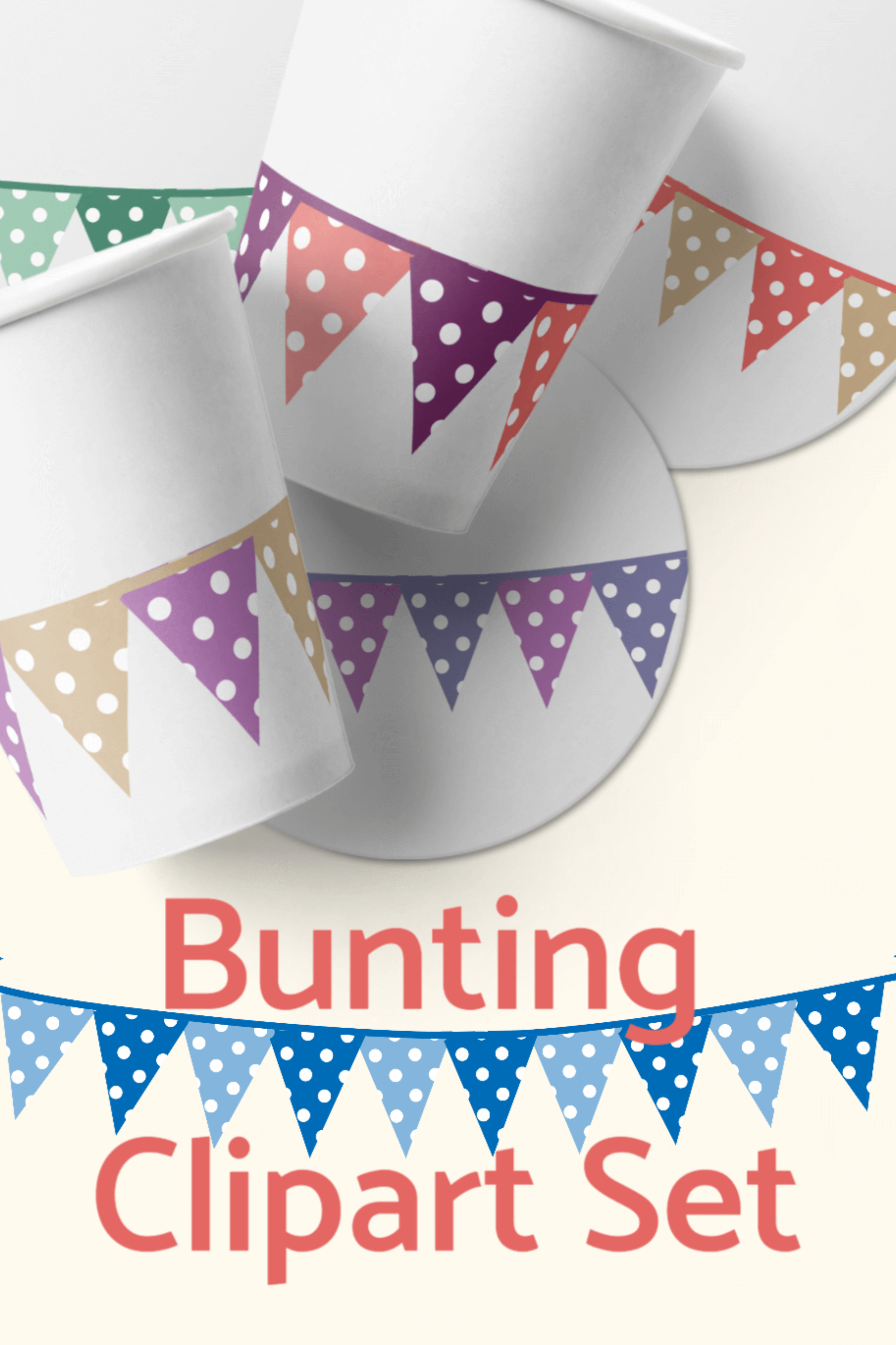 Bunting Flags Clipart Set PNG Files Download example image 3