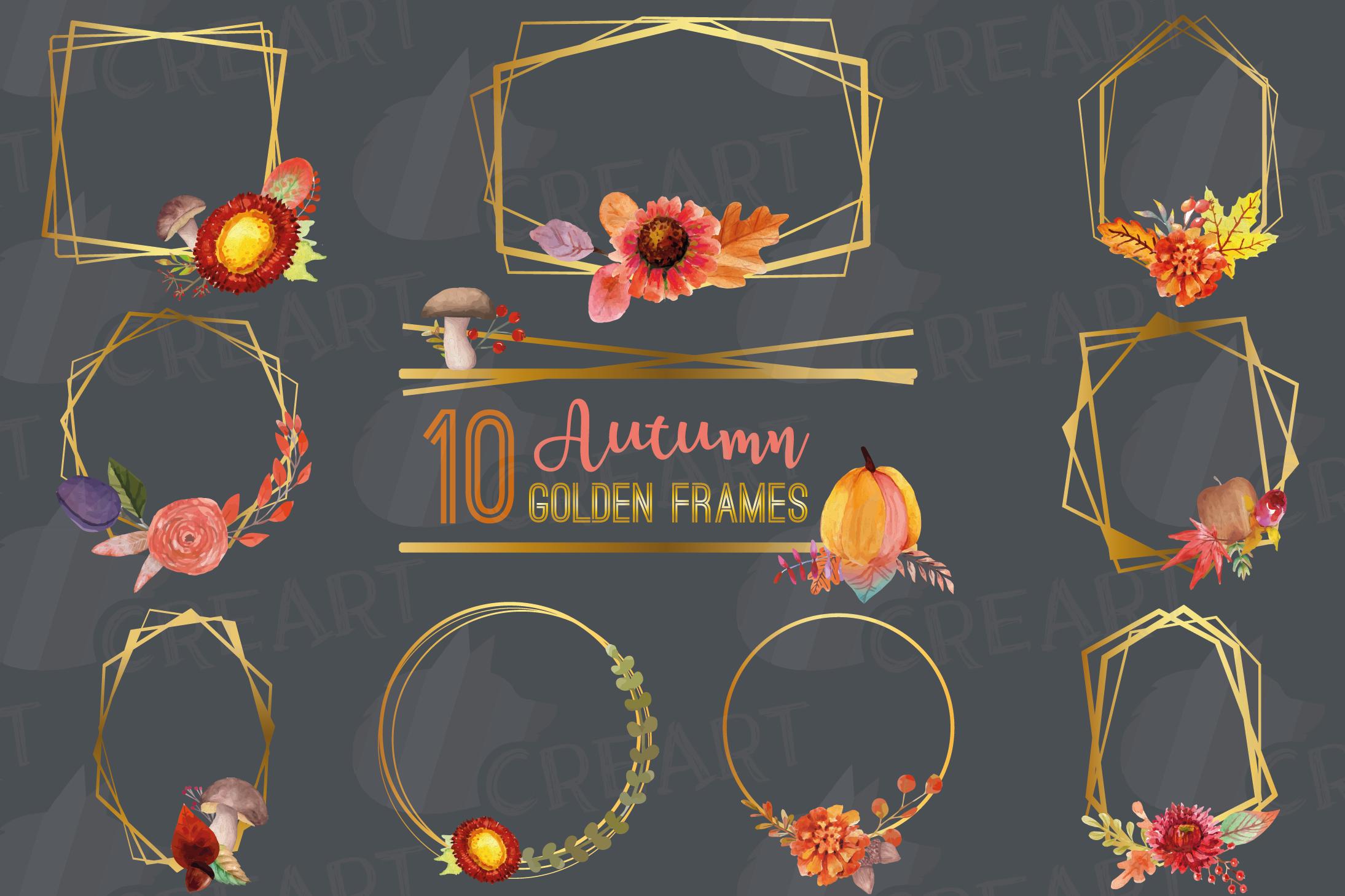 Watercolor elegant autumn geometric golden frame templates. example image 2