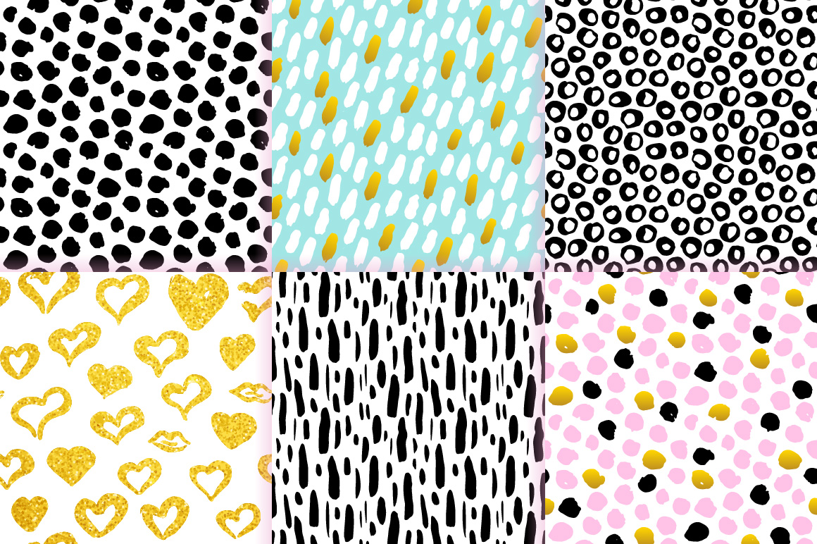 Brush Strokes Trendy Seamless Patterns example image 3