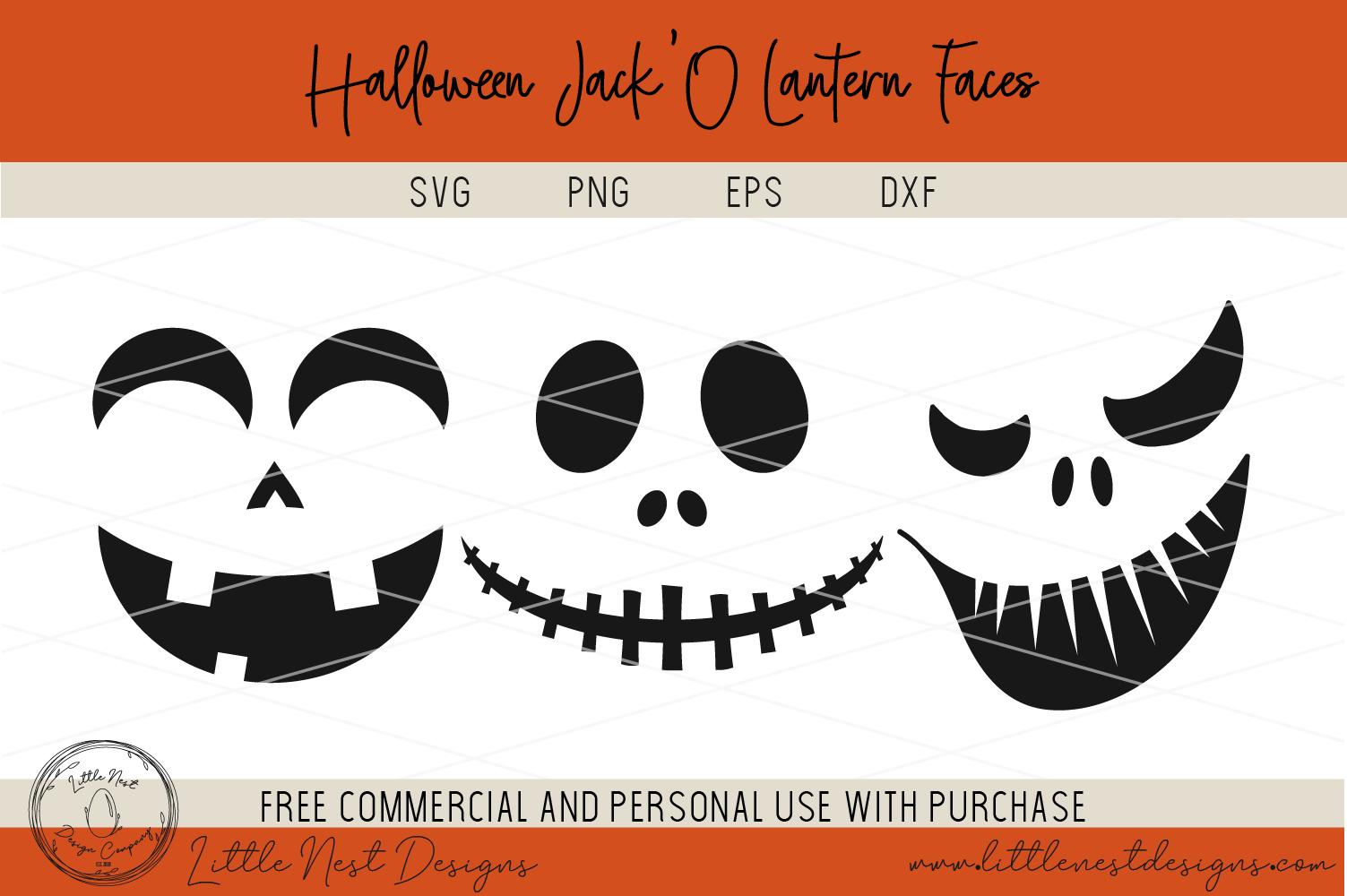 Halloween Jack O Lantern Faces - Pumpkin Faces - SVG Pumpkin example image 3