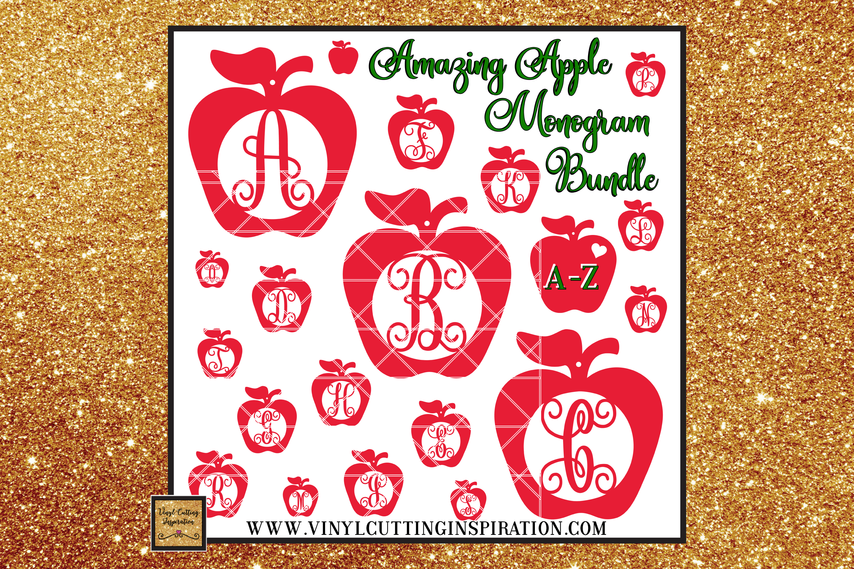 Apple Svg, Teacher Appreciation Svg, Monogram Bundle Svg example image 1