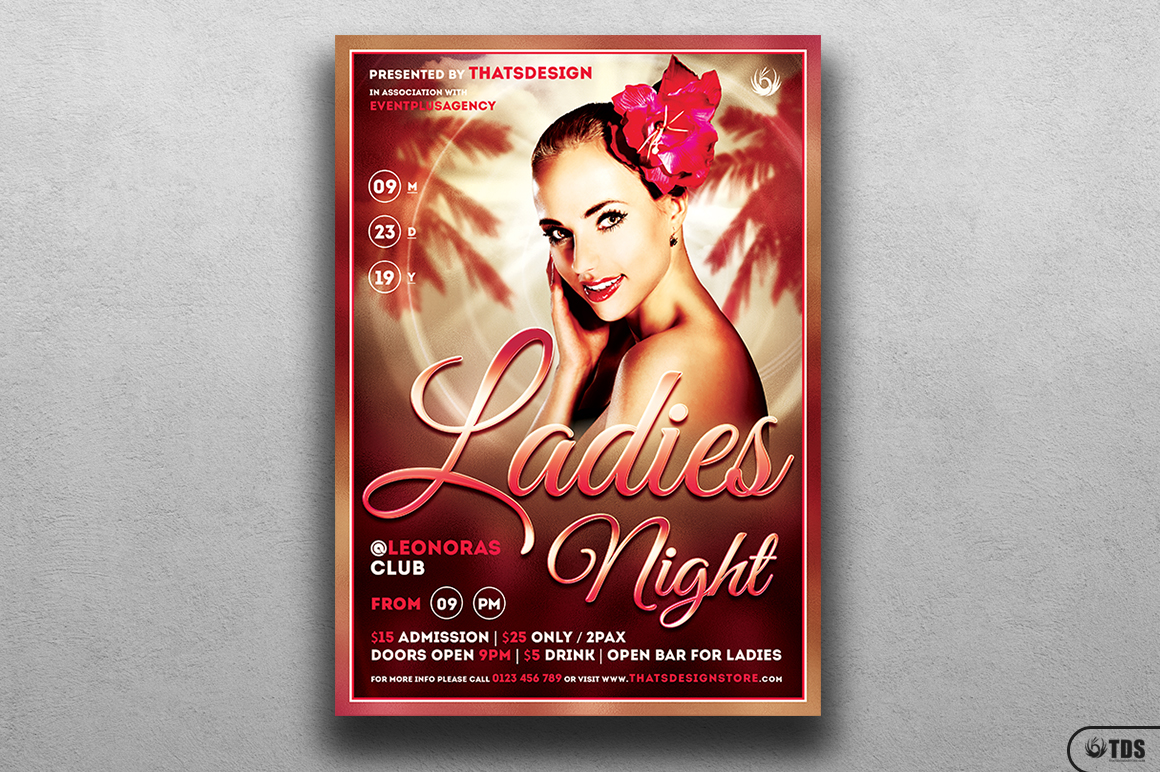 Sensual Ladies Night Flyer Template example image 1