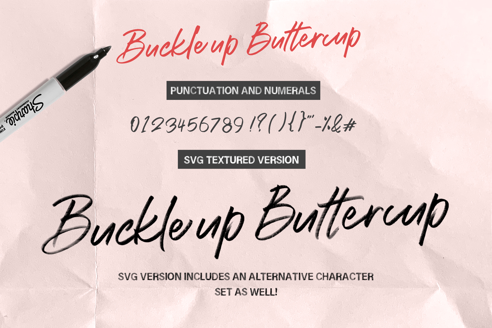Buckle up Buttercup Marker Font example image 18