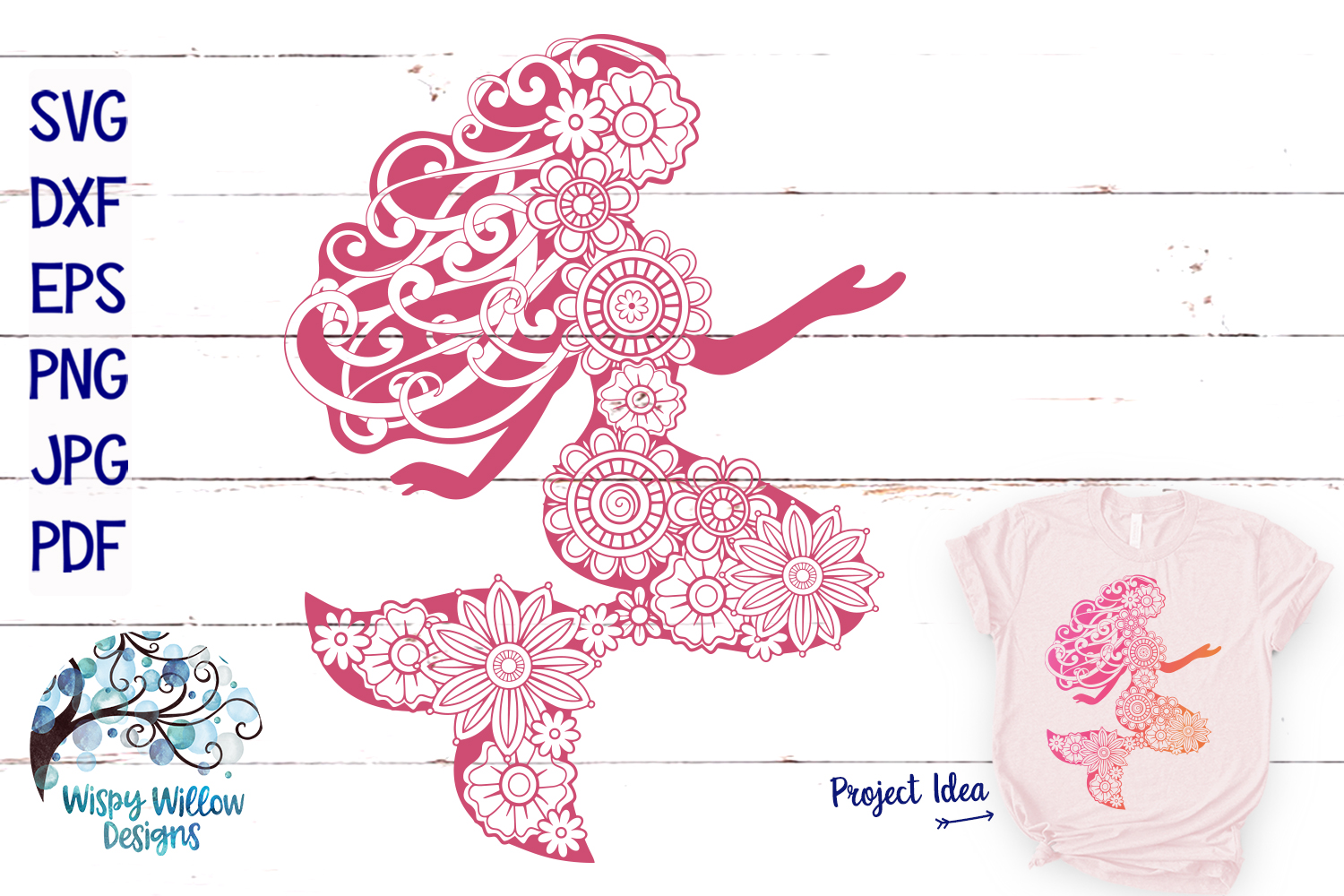 Floral Mermaid SVG | Summer SVG | Beach SVG Cut File example image 1