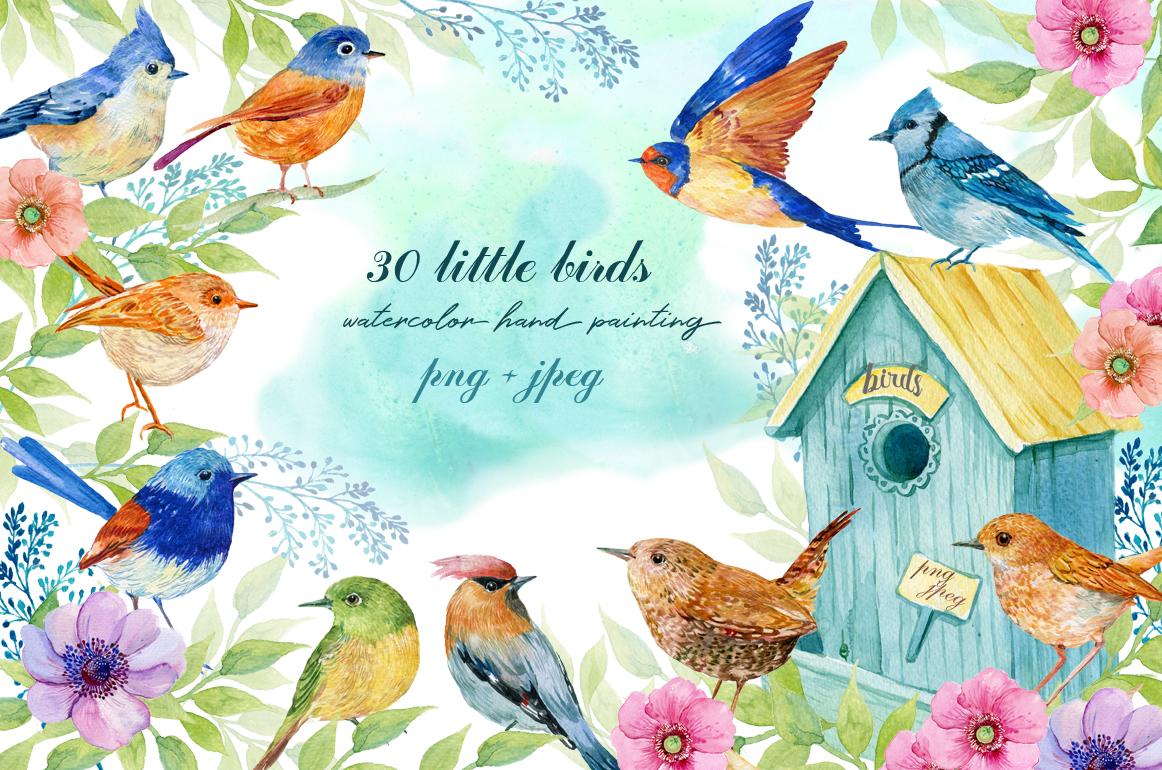 30 little birds.watercolor example image 1