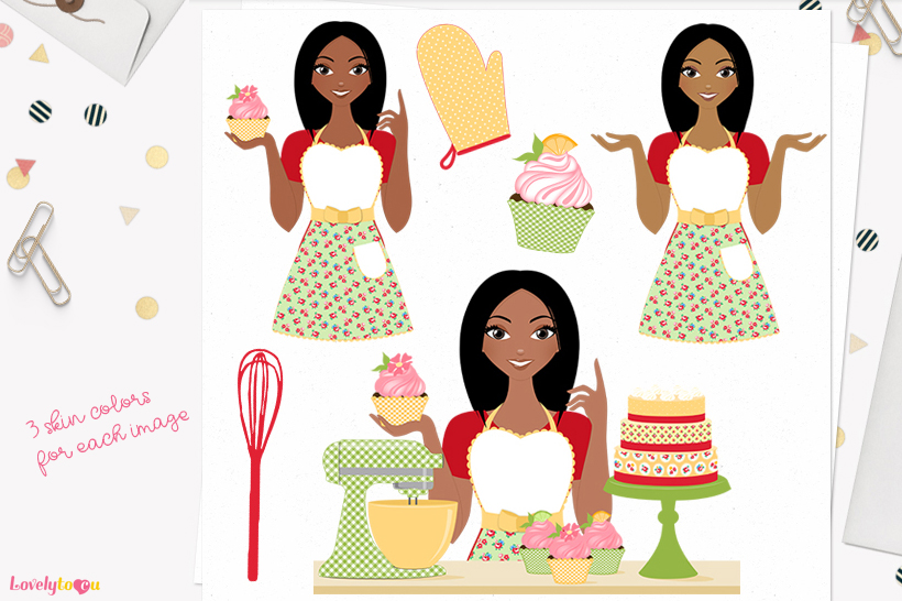 Woman baking character clip art L172 Layla example image 1