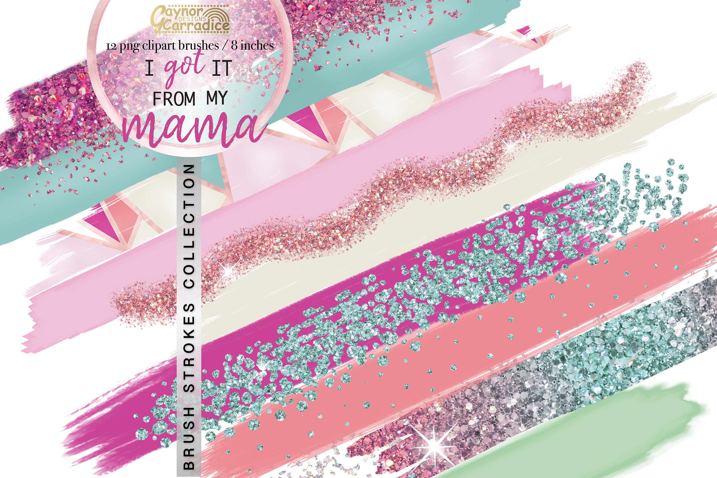 Pink and mint paint brush strokes collection example image 1