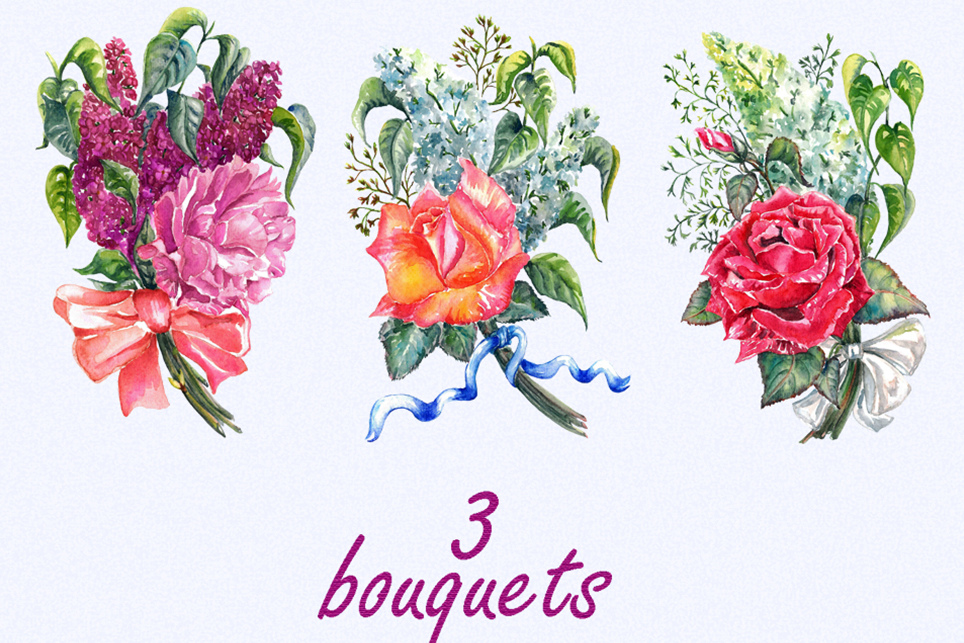 Floral bouquet clipart, Lilac clipart, rose clipart example image 4