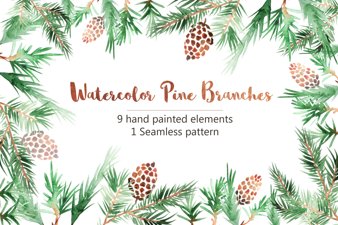 Watercolor Pine Branches Set example image 1
