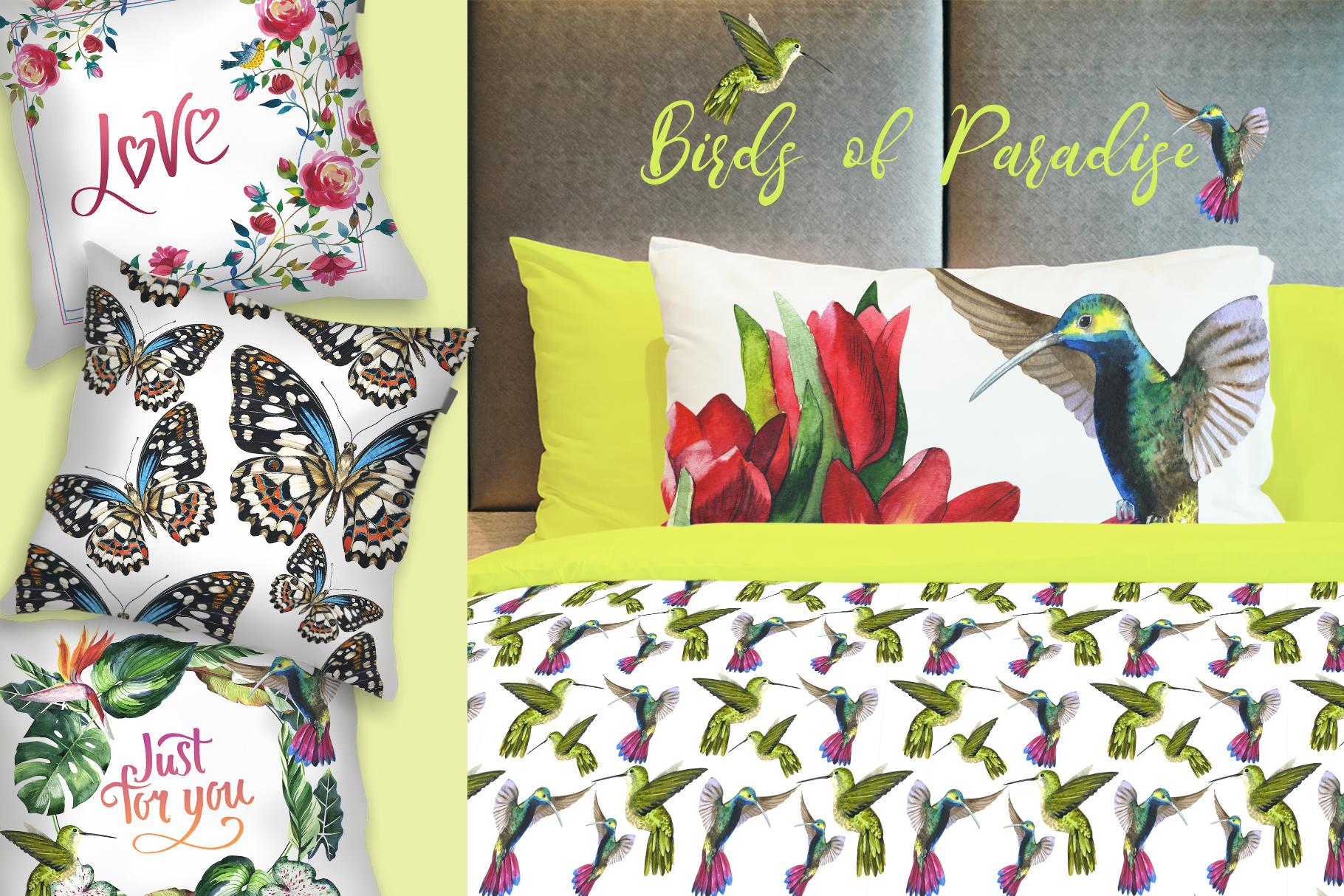 Birds of Paradise JPG watercolor set example image 3
