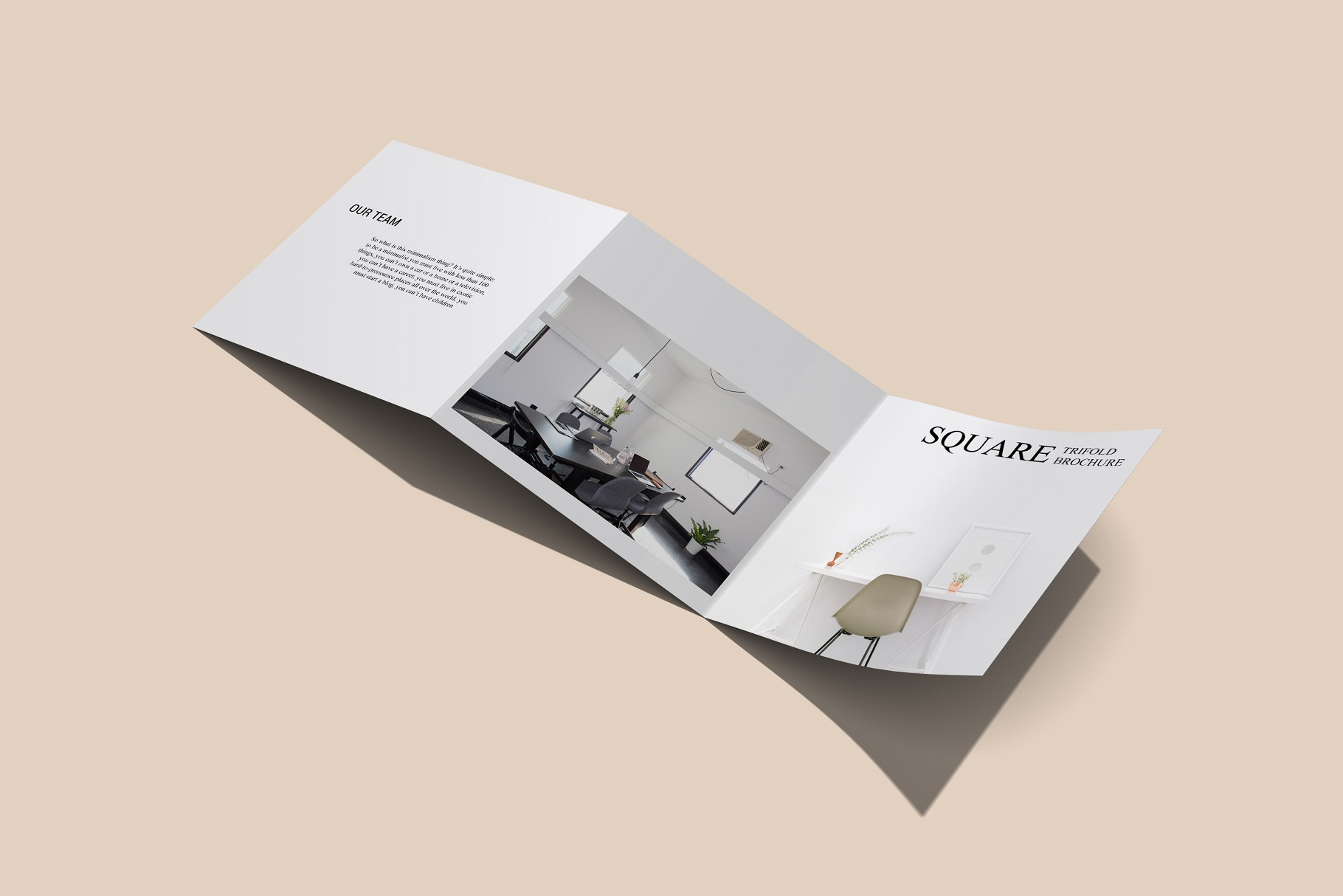 Square Trifold Brochure Mockup example image 4