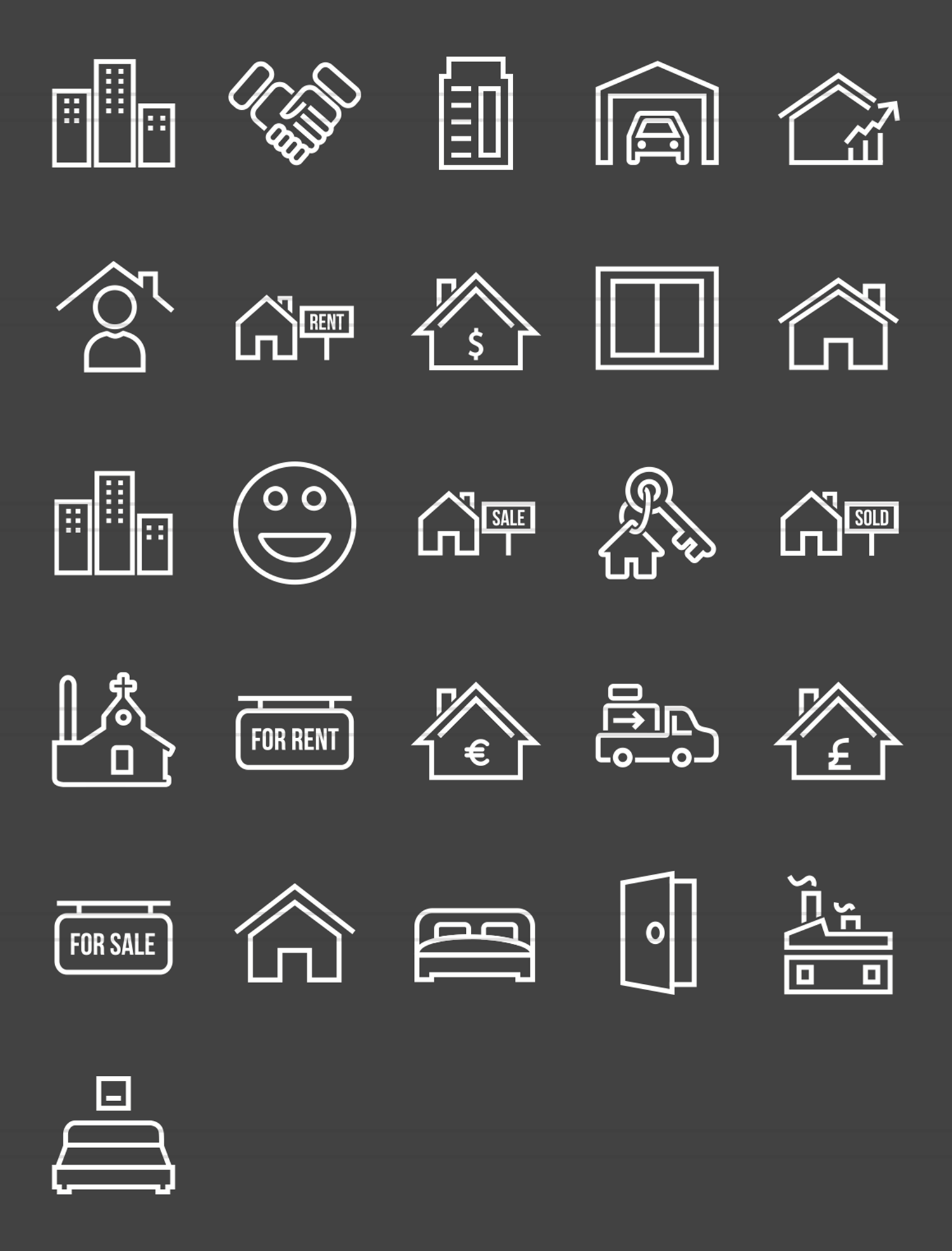 26 Real Estate Line Inverted Icons example image 2