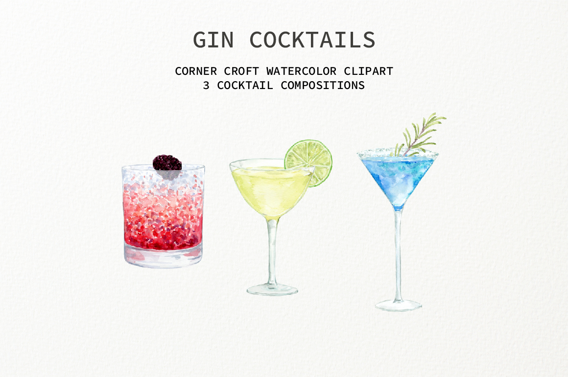 Watercolor Gin Cocktail Illustration and Prints example image 6
