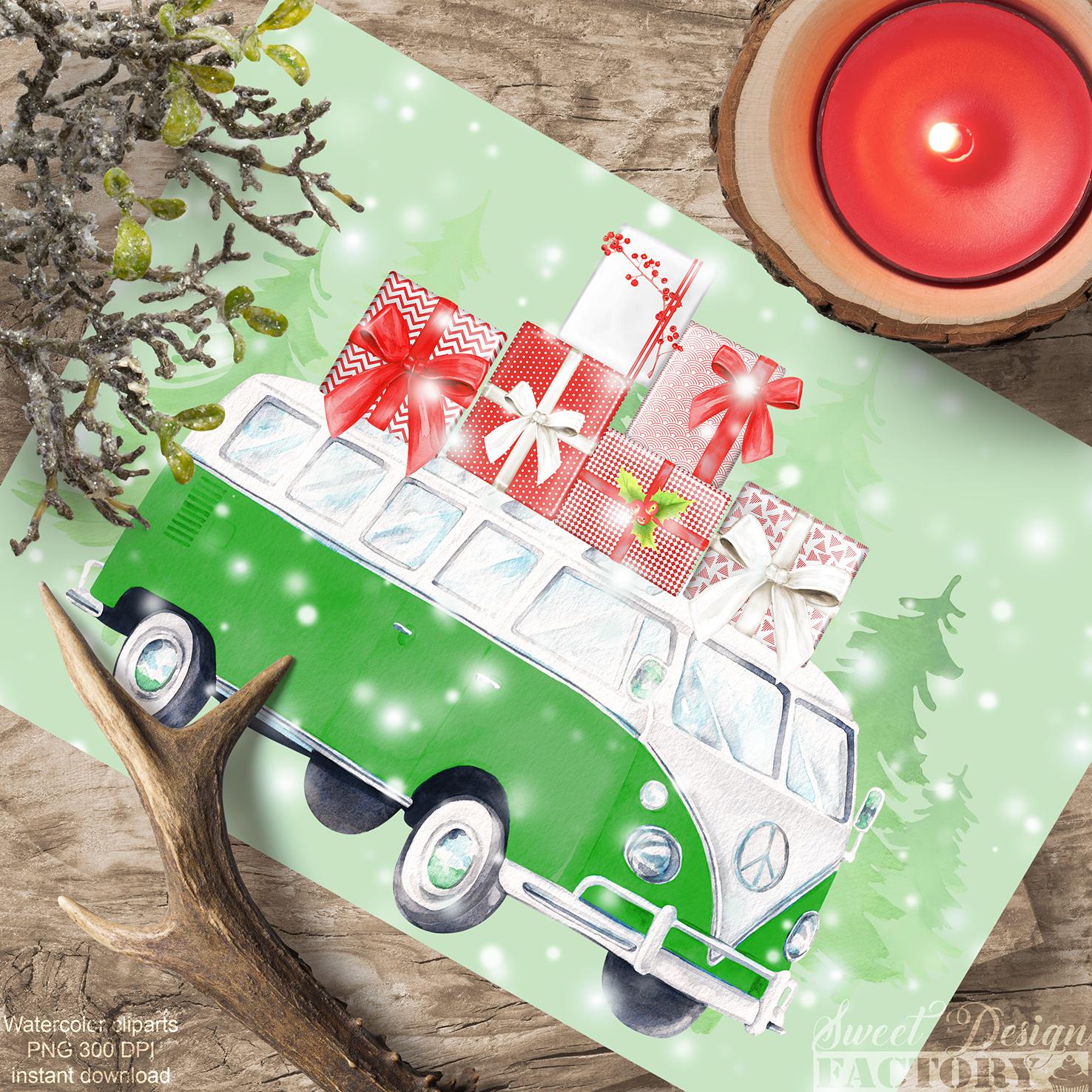 Watercolor Christmas retro van clipart example image 5