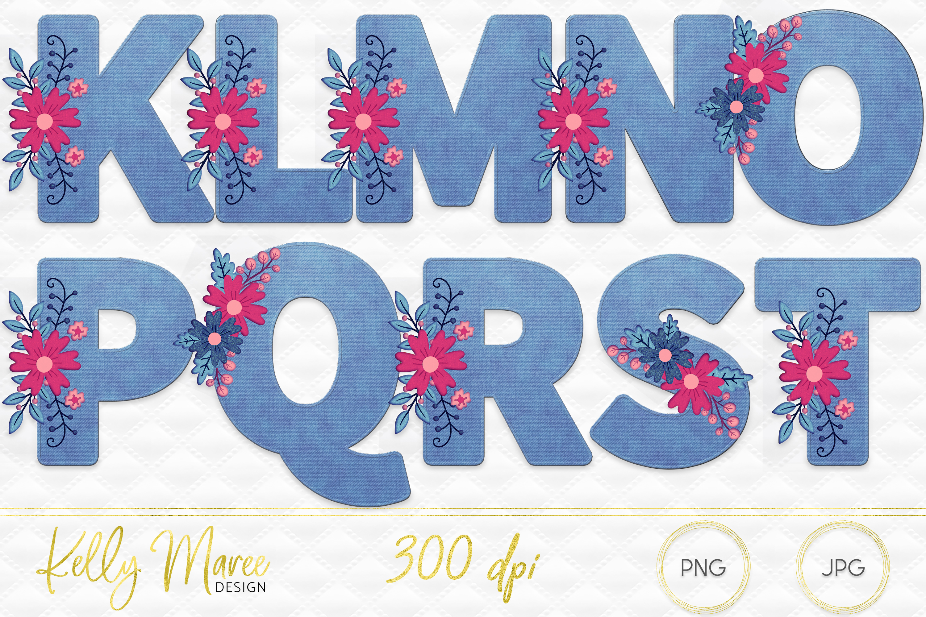 Light Denim & Floral Alphabet Graphic Bundle example image 3
