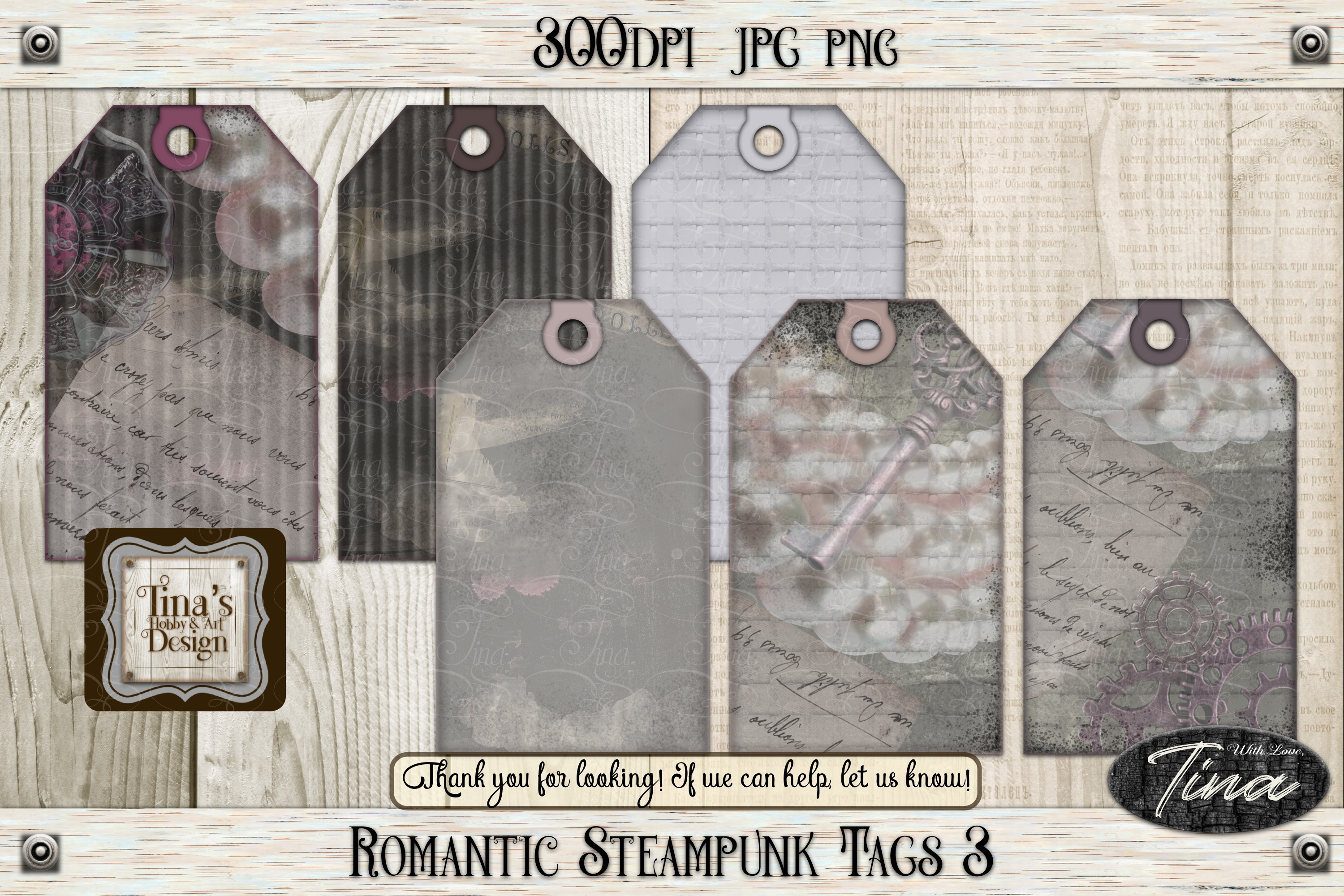 Romantic Steampunk Tags 4 Collage Mauve Grunge 101918RST4 example image 8