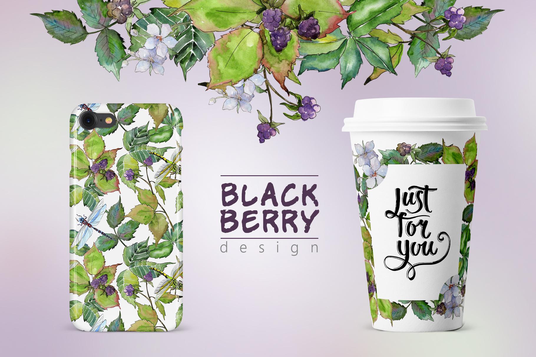 Sweetly blackberry JPG watercolor set  example image 4