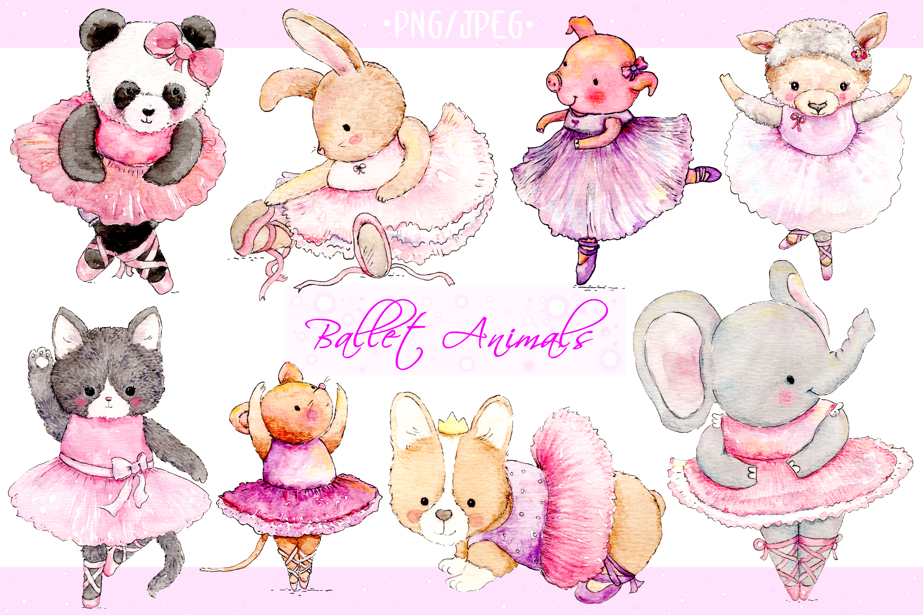 Watercolor Ballet Animals | 8 Clip Art Illustrations-PNG/JPG example image 1