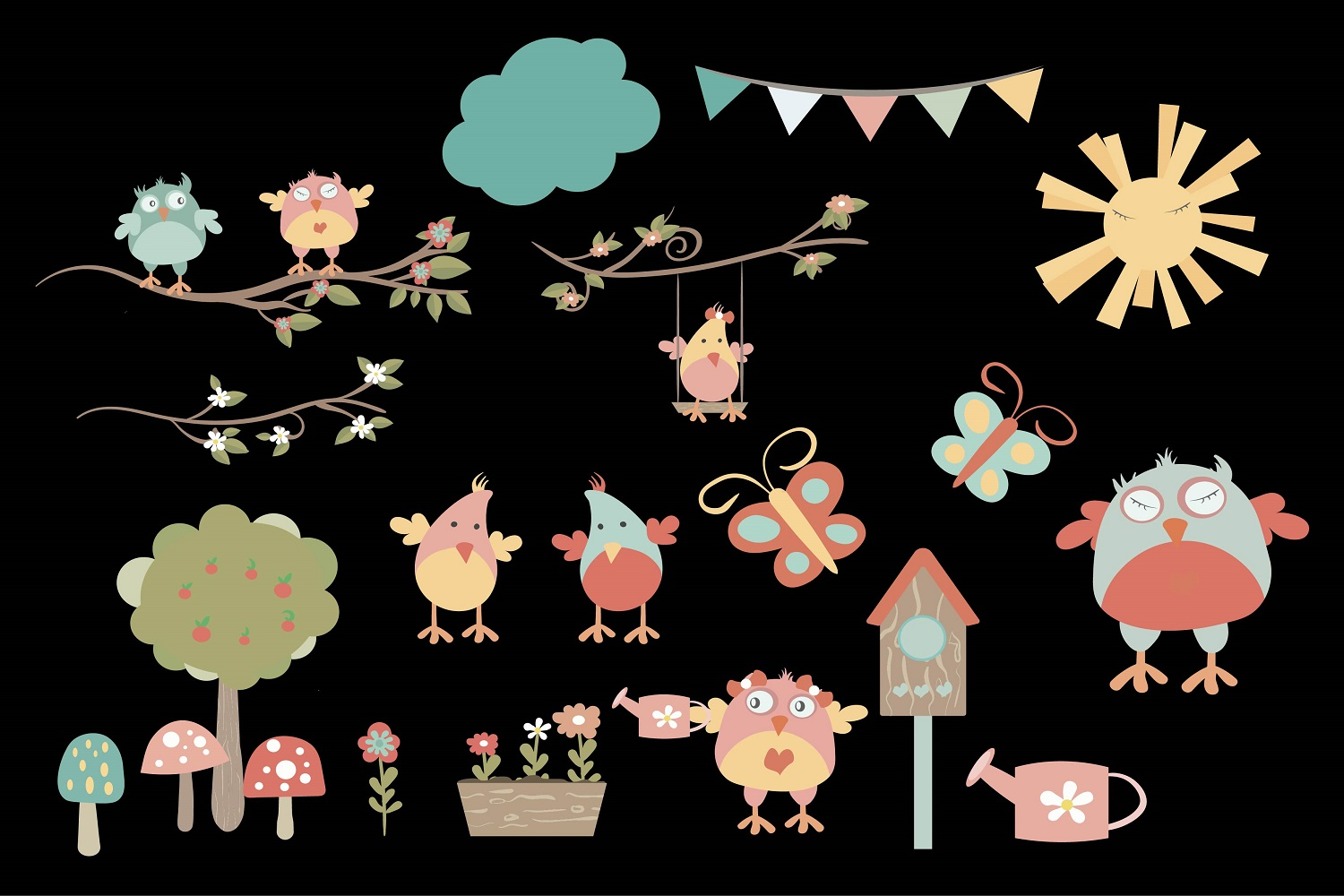Spring Owl's nest illustration Vector Pack example image 1